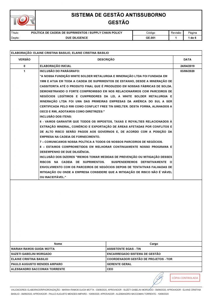 POLÍTICA DE CADEIA DE SUPRIMENTOS - GE.001 REV001_Página_1